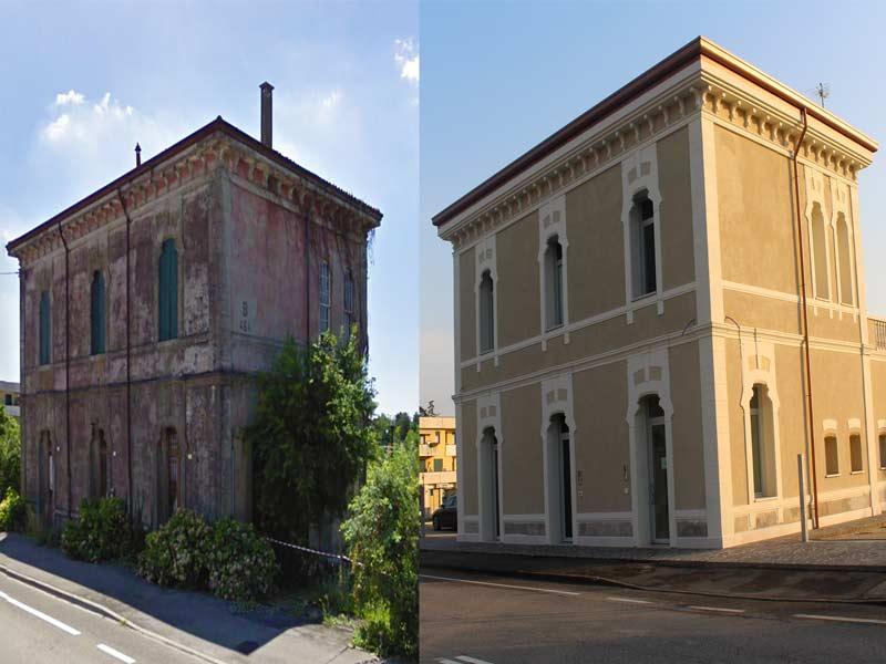 Ex stazione ferroviaria Limena Padova, prima del restauro - dopo il restauro