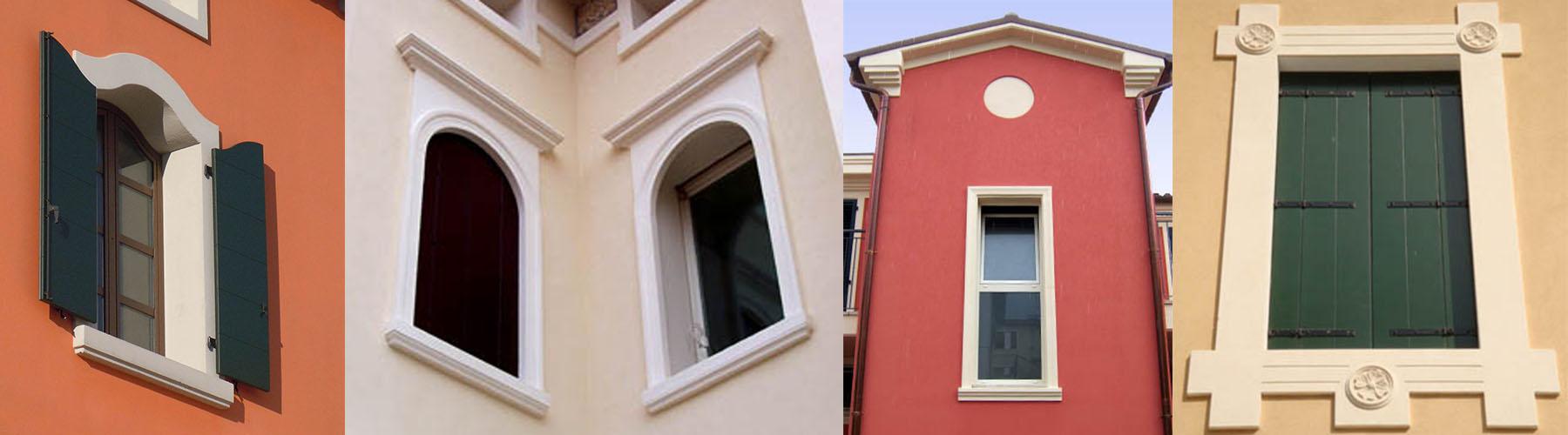 Cornici per finestre esterne in polistirolo, contorni finestra