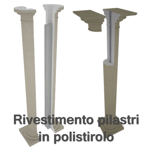 Rivestimento pilastri con colonne in polistirolo