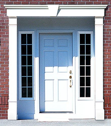 cornici in polistirolo per porte con lesene e profilo sopraporta
