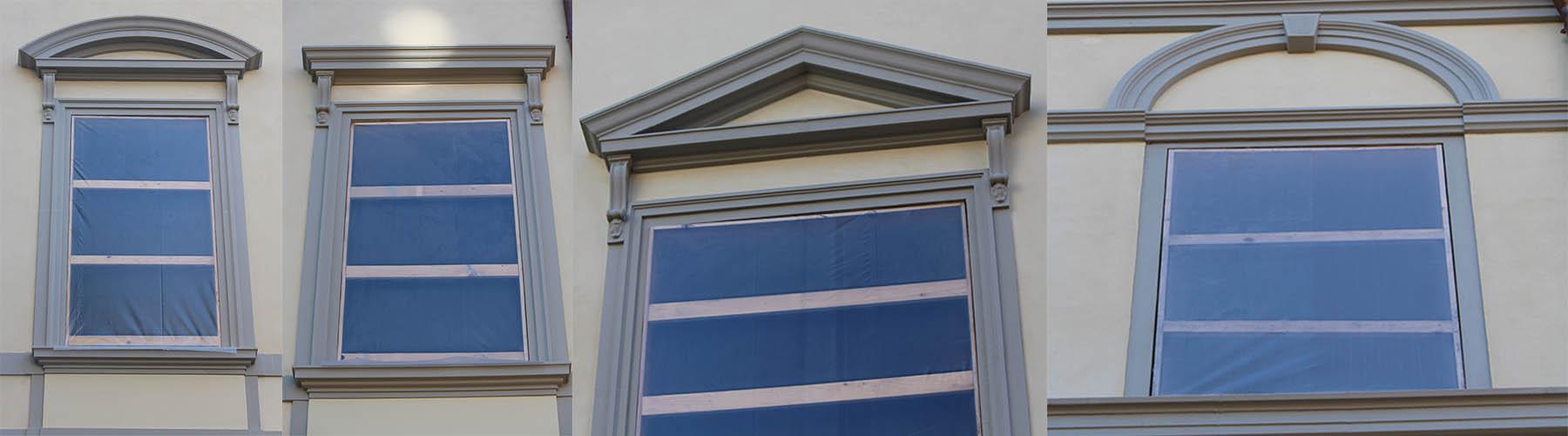 cornici per finestre esterne in polistirolo preintonacato per restauro