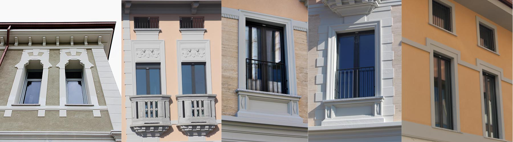 Cornici per finestre esterne in polistirolo, contorni finestra, restauro cornici finestre