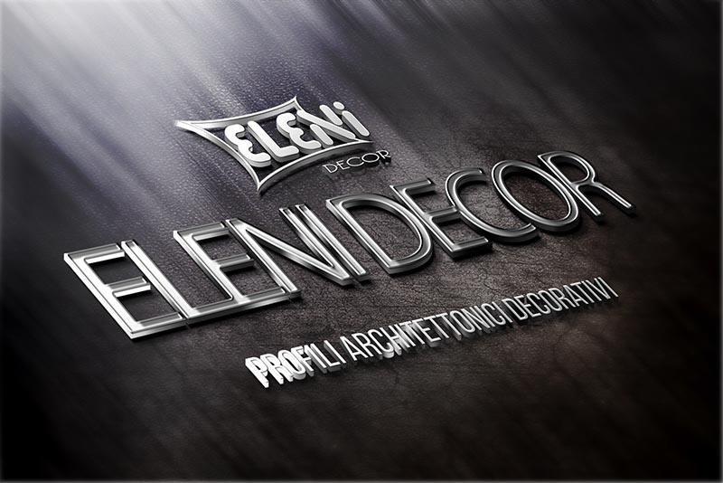 Mockup logo Eleni decor, profili architettonici decorativi