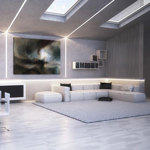 cornici led per interni - taglio di luce a soffitto ad incasso nel cartongesso