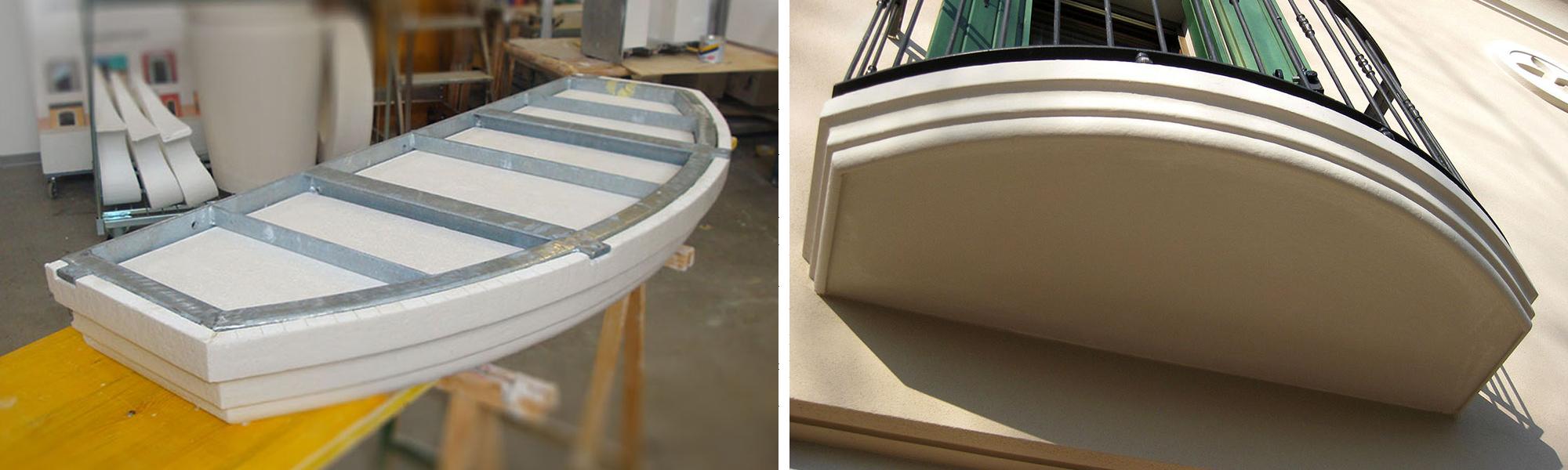 Sotto balconi e terrazzi in polistirolo: esempio di realizzazione su misura