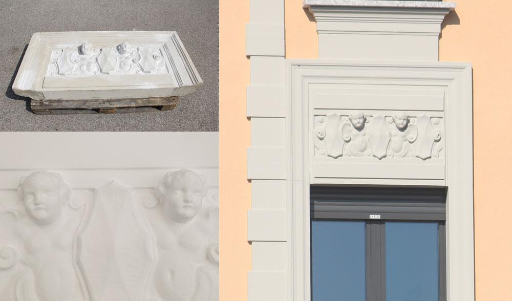 Riproduzione a fresa di sopra finestra - Gallarate