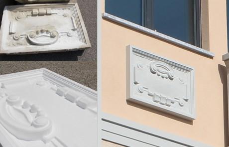 Riproduzione a fresa pannelli decorativi facciata - Gallarate
