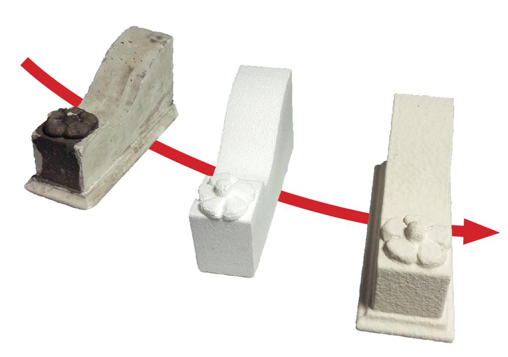 Riproduzione in polistirolo e rivestimento con resina effetto pietra