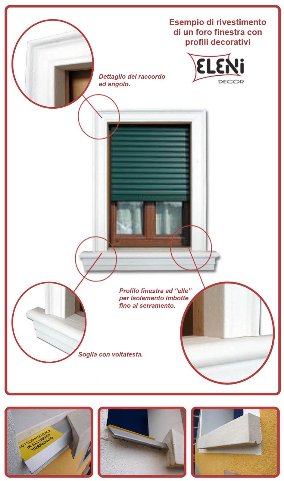Dettagli di un contorno finestra Eleni Decor con davanzale e cornici in polistirolo